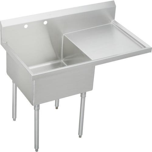 "Elkay Weldbilt Stainless Steel 55-1/2"" x 27-1/2"" x 14"" Floor Mount, Single Compartment Scullery Sink with Drainboard"