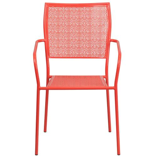 Coral Indoor-Outdoor Steel Patio Arm Chair with Square Back