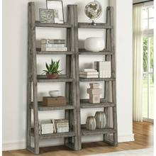 See Details - TEMPE - GREY STONE Pair of Etagere Bookcases