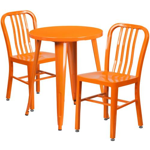 24'' Round Orange Metal Indoor-Outdoor Table Set with 2 Vertical Slat Back Chairs