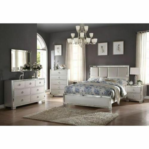 ACME Voeville II Queen Bed (Padded HB) - 24830Q - Platinum PU & Platinum