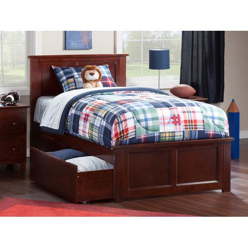 Madison Twin XL Bed with Matching Foot Board with 2 Urban Bed Drawers in Walnut