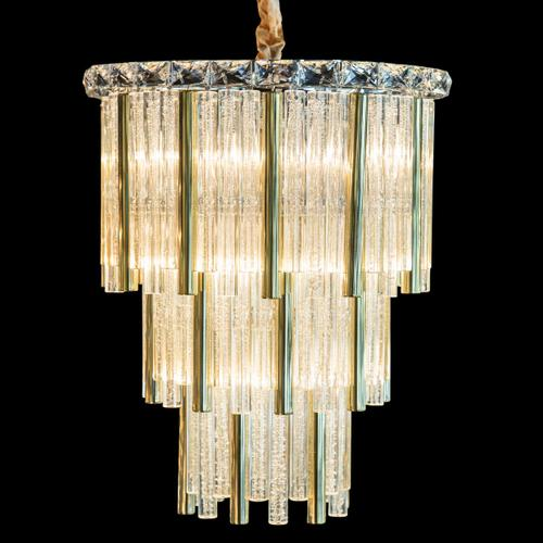 Chimes 10 Light Chandelier 2 PC Set Gold