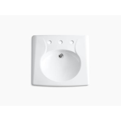 White Wall-mounted or Concealed Carrier Arm Mounted Commercial Bathroom Sink With Widespread Faucet Holes and No Overflow