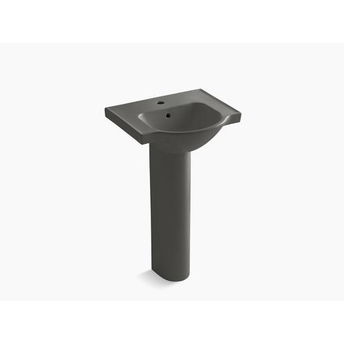 "Thunder Grey 21"" Pedestal Bathroom Sink With Single Faucet Hole"