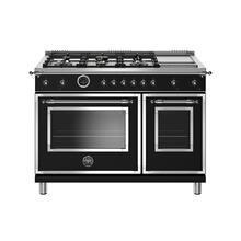 48 inch Dual Fuel Range, 6 Brass Burners and Griddle, Electric Self Clean Oven Nero Matt