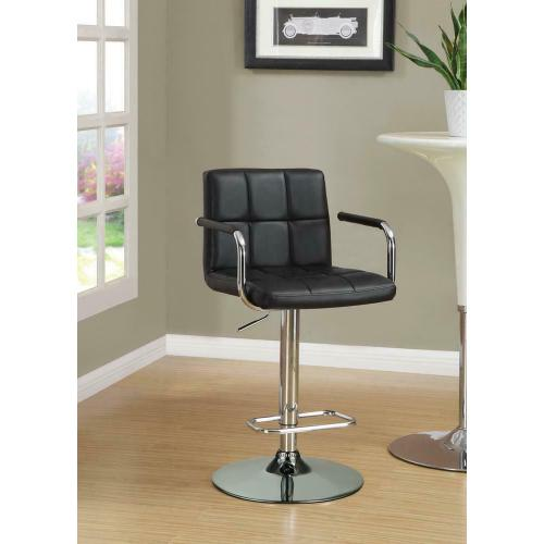 Gallery - Contemporary Black and Chrome Adjustable Bar Stool With Arms