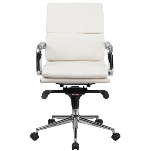 Mid-Back White Leather Executive Swivel Chair with Synchro-Tilt Mechanism and Arms