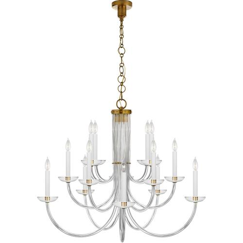 AERIN Wharton 15 Light 38 inch Hand-Rubbed Antique Brass Chandelier Ceiling Light