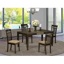 5 Pc Dining room set-Dining Table with Leaf Plus 4 Kitchen Chairs