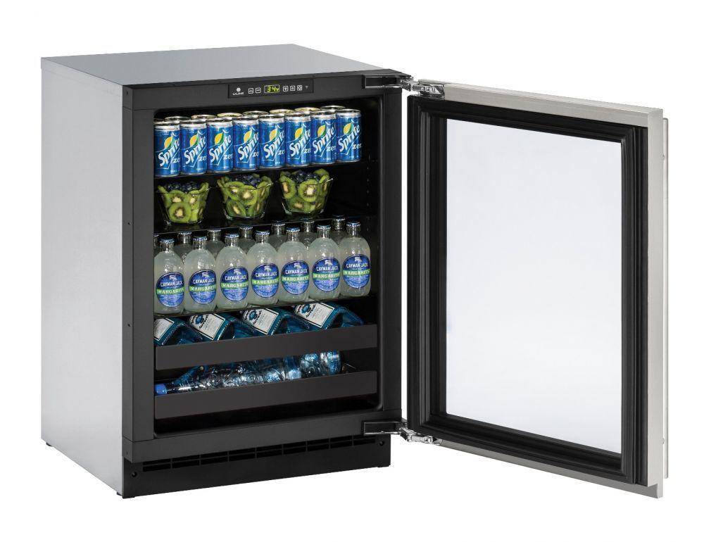 """U-Line2224bev 24"""" Beverage Center With Stainless Frame Finish And Left-Hand Hinge Door Swing (115 V/60 Hz Volts /60 Hz Hz)"""