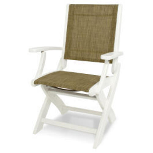 Polywood Furnishings - Coastal Folding Chair in White / Burlap Sling