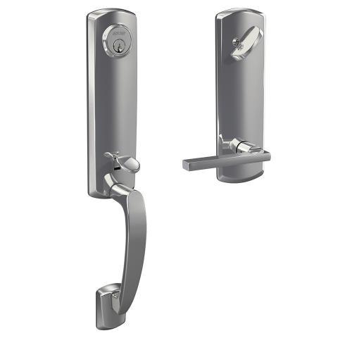 Custom Greenwich 3/4 Trim Single Cylinder Handleset with Latitude Lever - Bright Chrome