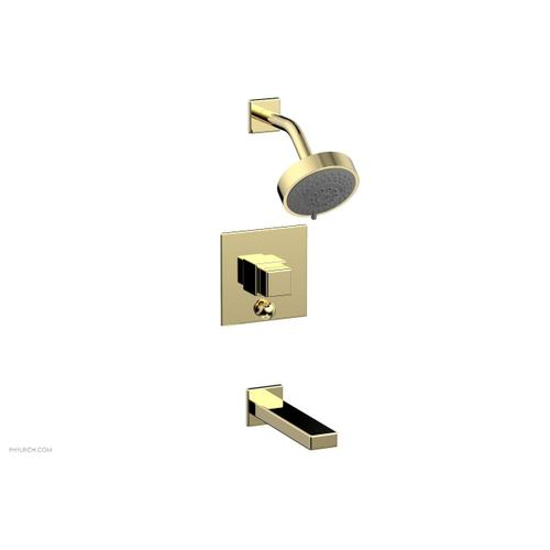 MIX Pressure Balance Tub and Shower Set - Cube Handle 290-29 - Polished Brass