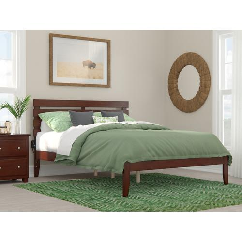 Atlantic Furniture - Oxford Queen Bed with USB Turbo Charger in Walnut