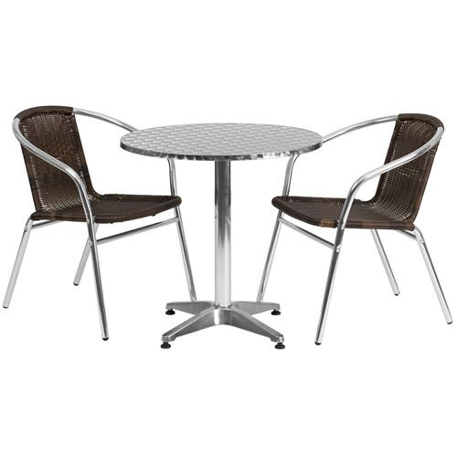 27.5'' Round Aluminum Indoor-Outdoor Table Set with 2 Dark Brown Rattan Chairs