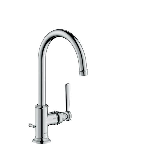 Polished Black Chrome Single lever basin mixer 210 with lever handle and pop-up waste set