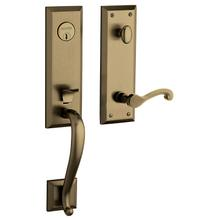 Satin Brass and Black Stonegate Handleset