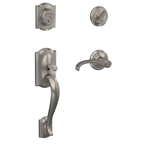 Custom Camelot Single Cylinder Handleset and Interior Whitney Lever with Alden Trim - Satin Brass