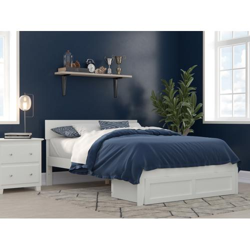 Atlantic Furniture - Boston Full Bed with Foot Drawer in White