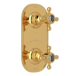 1/2 Inch Thermostatic and Diverter Control Trim - Italian Brass with Crystal Cross Handle