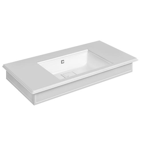 """Wall-mounted or counter-top washbasin in Cristalplant® with overflow waste Matte white 20-9/16"""" L x 43-5/16"""" W x 5-7/8"""" H Ove rflow cap in finish 031 chrome - see 46763 for more finish options Includes Cristalplant drain cover May be drilled on-site fo r single or 3 hole washbasin mixer CSA certified"""