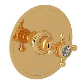 Italian Brass Italian Bath Pressure Balance Trim Without Diverter with Crystal Cross Handle
