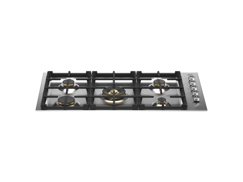 Bertazzoni36 Drop-In Gas Cooktop 5 Brass Burners Stainless Steel