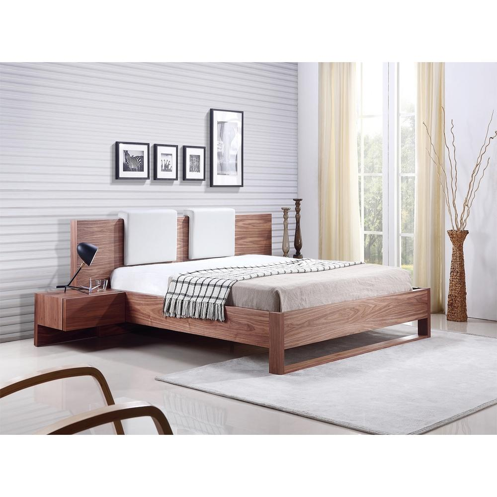 The Bay King Walnut Veneer Beds With Built-in Night Stands And Two Removable White Eco-leather Headrest