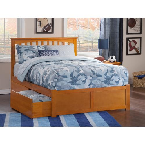 Mission Queen Flat Panel Foot Board with 2 Urban Bed Drawers Caramel Latte