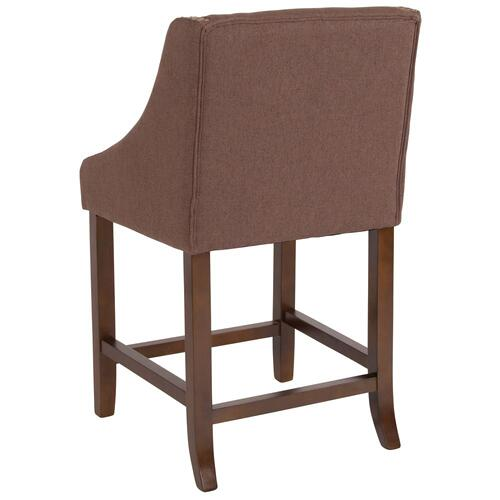 "24"" High Transitional Walnut Counter Height Stool with Accent Nail Trim in Brown Fabric"