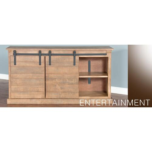 "65"" TV Console w/ Wine Rack & Barn Door"
