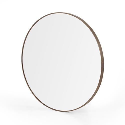 Large Size Spiced Oak Finish Bellvue Round Mirror