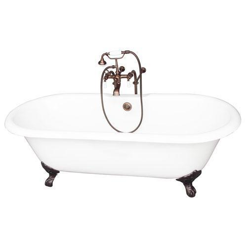 "Columbus 61"" Cast Iron Double Roll Top Tub Kit - Oil Rubbed Bronze Accessories"