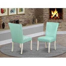 Alpine parson Chair with Linen White Finish Leg and PU Leather color 07-Pond