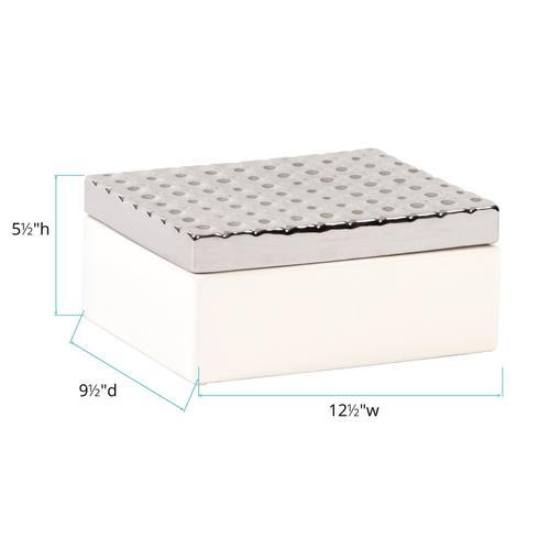 Howard Elliott - White Decorative Box with Silver Lid
