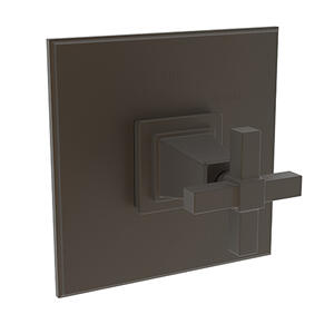 Weathered Brass Balanced Pressure Shower Trim Plate with Handle. Less showerhead, arm and flange.