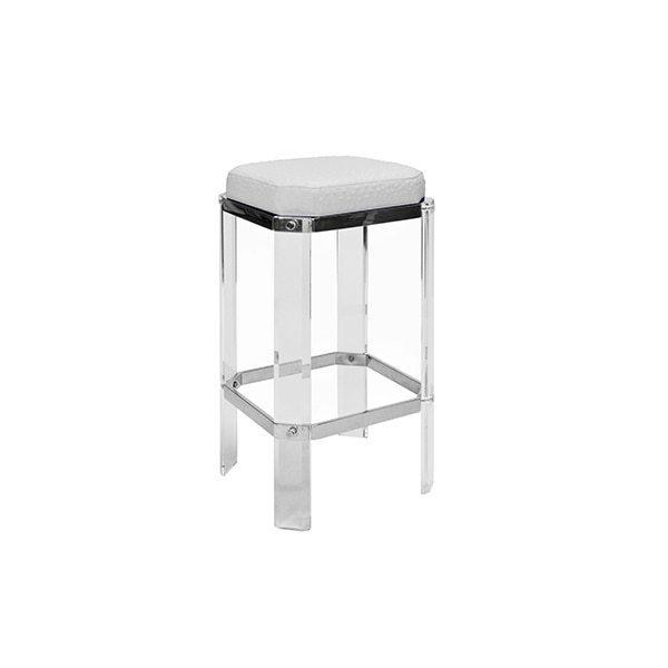 With A Nod To Hollywood's Golden Age, Our Opulent Dorsey Counter Stool Will Channel Your Inner Celebrity. Faceted Lucite Legs Are Studded With Polished Nickel Accents, and Its White Ostrich Cushion Finishes This Glamour Shot.