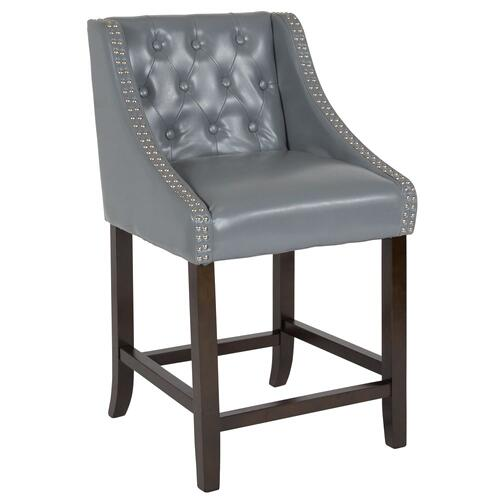 "24"" High Transitional Tufted Walnut Counter Height Stool with Accent Nail Trim in Light Gray Leather"