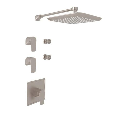 Satin Nickel Perrin & Rowe Hoxton Thermostatic Shower Package with Hoxton Metal Lever