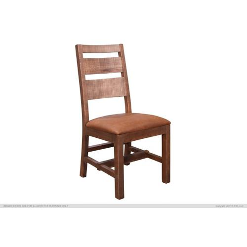 Gallery - Chair w/Ladder back, Faux leather seat, Solid wood - Brown finish