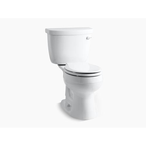 Kohler - White Two-piece Round-front 1.28 Gpf Toilet With Insuliner Tank Liner