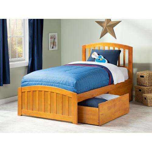 Richmond Twin Bed with Matching Foot Board with 2 Urban Bed Drawers in Caramel Latte