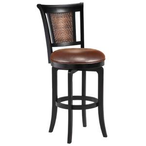 Cecily Wood Swivel Bar Height Stool, Black