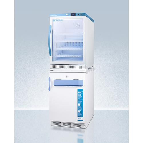 Stacked Combination of Arg6pv All-refrigerator and Vt65mlbimed2 Manual Defrost All-freezer for Vaccine Storage, With Antimicrobial Silver Ion Handle