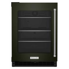 """24"""" Undercounter Refrigerator with Glass Door and Shelves with Metallic Accents - Black Stainless Steel with PrintShield™ Finish"""