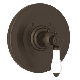 Thermostatic Trim Plate without Volume Control - Tuscan Brass with White Porcelain Lever Handle