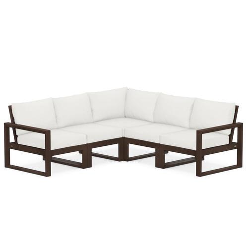 Polywood Furnishings - EDGE 5-Piece Modular Deep Seating Set in Mahogany / Natural Linen