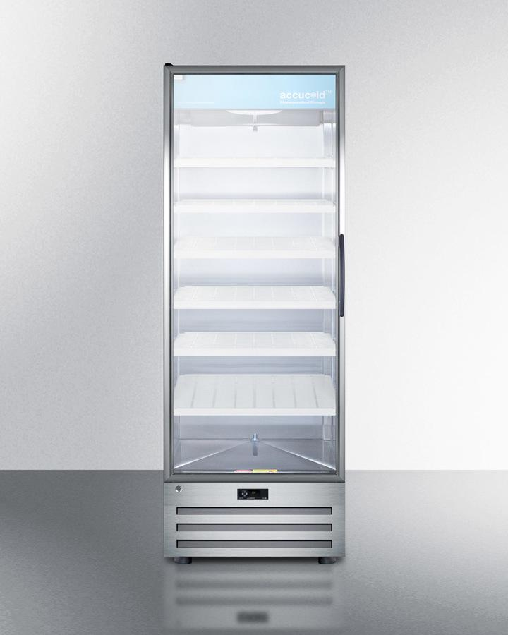 SummitFull-Size Pharmaceutical All-Refrigerator With A Glass Door (Left Hand Door Swing), Lock, Digital Thermostat, And A Stainless Steel Interior And Exterior Cabinet