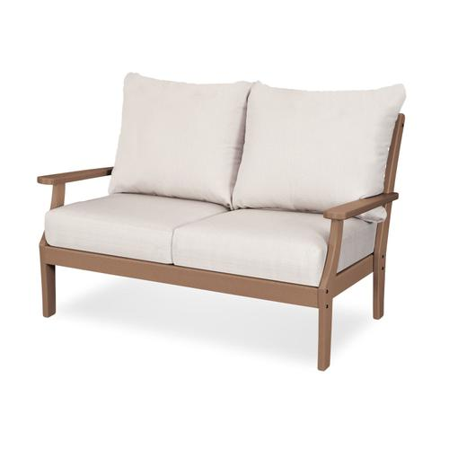 Teak & Cast Currant Braxton Deep Seating Settee